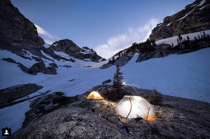 Eureka tents in the snow covered mountains