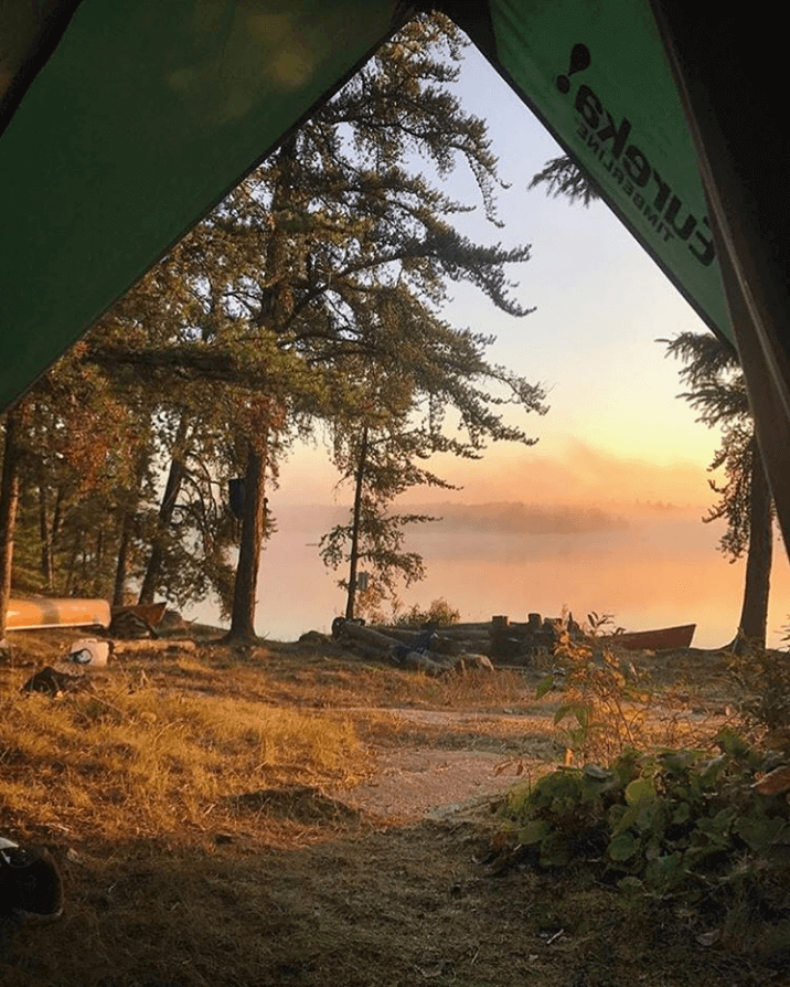 Sunset view from the door of a Timberline tent